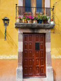 Carved Wooden Door and Balcony, San Miguel, Guanajuato State, Mexico Photographic Print by Julie Eggers
