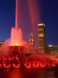 Buckingham Fountain illuminated at night, Chicago, Illinois, USA Photographic Print by Alan Klehr