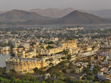 Elevated view of City Palace, Udaipur, India Photographic Print by Adam Jones