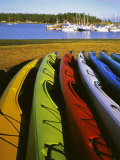 Sea Kayaks, Fisherman Bay, Lopez Island, Washington, USA Photographic Print by Charles Gurche