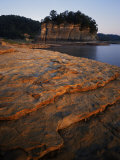 Eroded limestone and Tower Rock, Mississippi River, Perry County, Missouri, USA Photographic Print by Charles Gurche