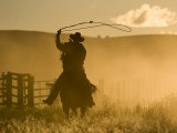 Silhouette of A Wrangler Swinging Lasso, Ponderosa Ranch, Seneca, Oregon, USA Fotografie-Druck von Wendy Kaveney