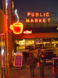 Night lights of Pike Place Market in Seattle, Washington, USA Photographic Print by Janis Miglavs