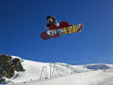 Snowboarder Jumping Halfpipe, Klein Matterhorn, Zermatt, Switzerland Photographic Print by Adam Jones