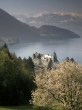 Large hotel with mountain in background, Lake Lucerne, Switzerland Photographic Print by Alan Klehr