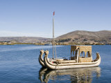 Reed Boat Moving Through Channel, Lake Titicaca, Peru Photographic Print by Diane Johnson