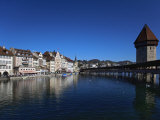 Chapel Bridge, Reuss River, Lucerne, Switerland Photographic Print by Adam Jones