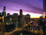 Skyline and River Looking West at Sunset, Chicago, Illinois, USA Photographic Print by Alan Klehr