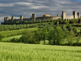 Wheat field and distant Monteriggioni, Siena, Tuscany, Italy Photographic Print by Adam Jones