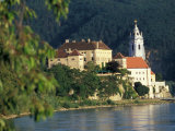 Hotel Schloss along Danube River, Durnstein, Austria Photographic Print by David Herbig