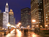 Wacker Drive and Skyline at night, Chicago, Illinois, USA Photographic Print by Alan Klehr
