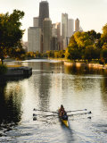 Rowers in Lincoln Park lagoon at dawn, Chicago, Illinois, USA Photographic Print by Alan Klehr