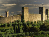 Walled city of Monteriggioni, Siena, Tuscany, Italy Photographic Print by Adam Jones