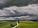 Road and Storm Clouds, Tuscany region, Itay Photographic Print by Adam Jones