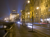 Boulevard along Vltava River and National Theatre, Prague, Czech Republic Photographic Print by Alan Klehr