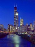 Skyline at night with Chicago River and Sears Tower, Chicago, Illinois, USA Photographic Print by Alan Klehr