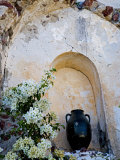 Pottery and Flowering Vine, Oia, Santorini, Greece Photographic Print by Darrell Gulin