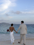 Newlywed Bride and Groom Holding Hands Photographic Print by Marilyn Parver