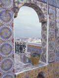 Tunis Ornate tiles on rooftop, Tunisia Photographic Print by Alan Klehr