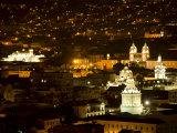 City at Night, Quito, Pichincha Province, Ecuador Photographic Print by John & Lisa Merrill