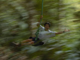 Rope Swing in the Jungle, Napo River Region, Amazon Rain Forest, Ecuador Photographic Print by Pete Oxford