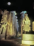 Full Moon Over The Temple at Karnak, Luxor, Egypt Photographic Print by Janis Miglavs