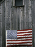 American Flag on Barn Photographic Print by Marilyn Parver