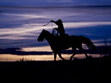 Cowboy on Horses on Hideout Ranch, Shell, Wyoming, USA Photographic Print by Joe Restuccia III