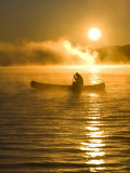 Canoeing at Sunrise, Moosehead Lake, Maine, USA Photographic Print by Jerry & Marcy Monkman