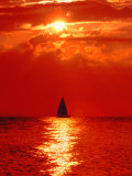 Sailboat at Dawn, Lake Huron, Mackinaw, Michigan, USA Photographic Print by David W. Kelley