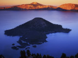 Wizard Island at dusk, Crater Lake National Park, Oregon, USA Photographic Print by Charles Gurche