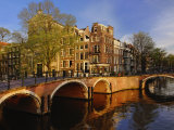Canals at dusk, Amsterdam, Holland, Netherlands Photographic Print by Adam Jones