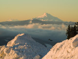 Snow-covered view of Mt Jefferson and Three Sisters Mountains, Oregon, USA Photographic Print by Janis Miglavs