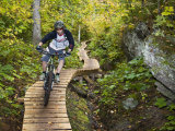 Mountain biking on the Stairway to Heaven Trail in Copper Harbor, Michigan, USA Photographic Print by Chuck Haney