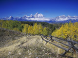 Teton Range and Fence Line, Grand Teton National Park, Wyoming, USA Photographic Print by Rolf Nussbaumer
