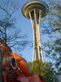 Looking up at the Space Needle, Seattle, Washington, USA Photographic Print by Janis Miglavs