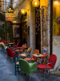 Outdoor Cafe Seating, Chania, Crete, Greece Photographic Print by Darrell Gulin