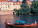 Traditional River Boat, Prague, Czech Republic Photographic Print by David Herbig