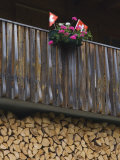 Swiss Flag and Flower Pot, Binn, Wallis, Switzerland Photographic Print by Rolf Nussbaumer