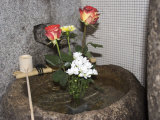 Stone Basin With Flowers, Kyoto, Japan Photographic Print by Shin Terada