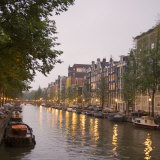 Boat Lined Canal at Dusk, Amsterdam, Netherlands Photographic Print by Marilyn Parver