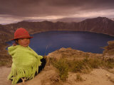 Quichua Indian Child, Quilatoa Crater Lake, Ecuador Photographic Print by Pete Oxford