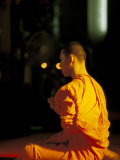 Buddhist Monk at Morning Prayer, Marble Temple, Bangkok, Thailand Photographic Print by Paul Souders