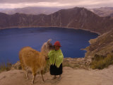 Quichua Indian Child with Llama, Quilatoa Crater Lake, Ecuador Photographic Print by Pete Oxford