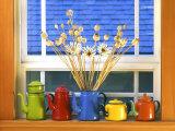 Enamelware Teapots & Coffeepots on Window Sill, Portland, Oregon, USA Photographic Print by Steve Terrill