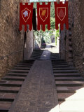 Medieval Flags Above Stone Walkway, Assisi, Umbria, Italy Photographic Print by Marilyn Parver