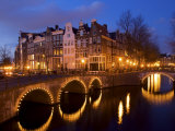 Canal at Night, Amsterdam, Netherlands Photographic Print by Lisa S. Engelbrecht