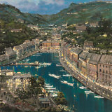 Portofino Twilight Art by Mario Sanzone