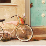 Vintage Pink Bike Prints by Mandy Lynne