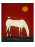 Gratis rit, vogel op paardenrug Premium gicléedruk van Karen Bezuidenhout